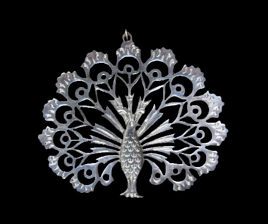 Peacock vintage pewter pendant