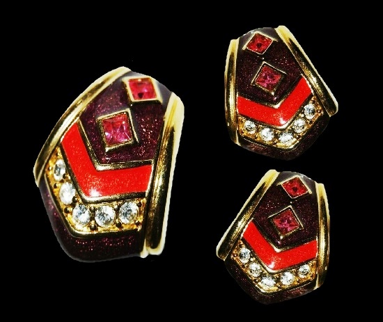 Pendant and clip on earrings. Coral and black enamel, gold tone metal alloy, pave rhinestones