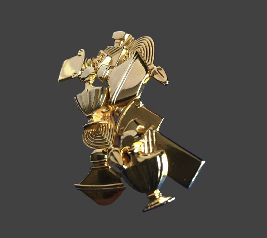 Perfume bottles design brooch. Gold tone alloy. 4 cm. 1990s