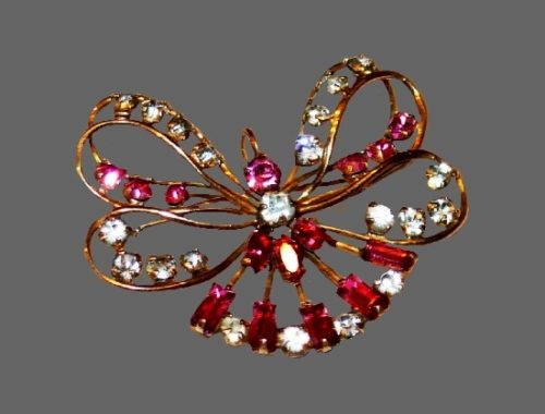 Pink and clear rhinestones 12 K gold filled butterfly brooch. 1950s