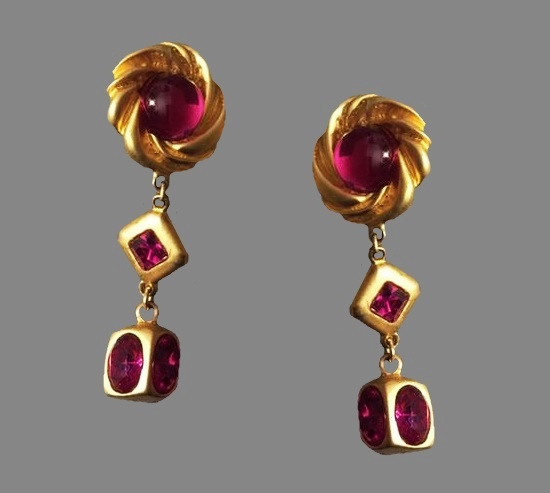 Pink art glass gold plated dangle clip on earrings
