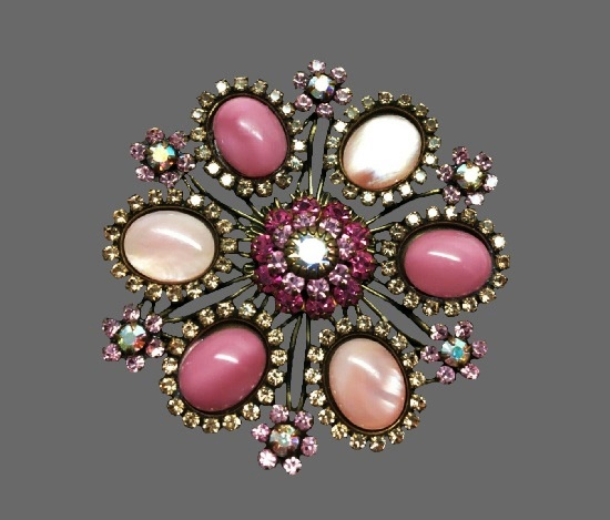 Pink colors mother of pearl cabochons rhinestones flower brooch