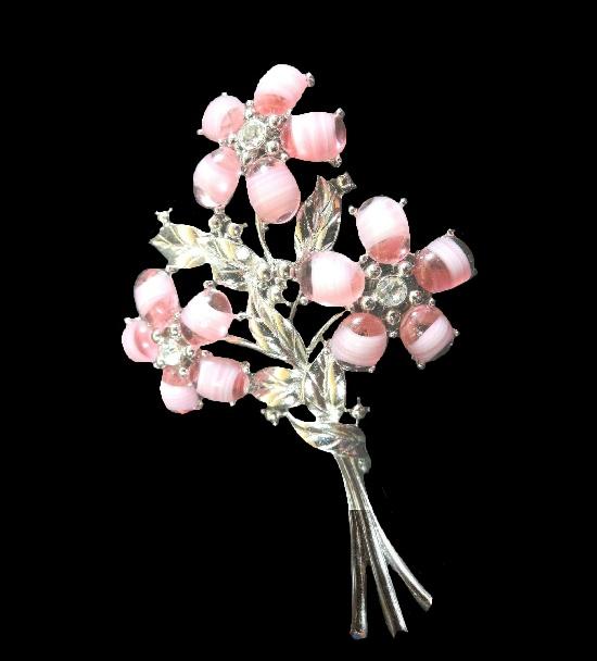 Pink glass flower brooch. Gold tone, rhinestones, art glass