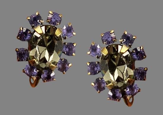 Purple and clear rhinestone clip on earrings