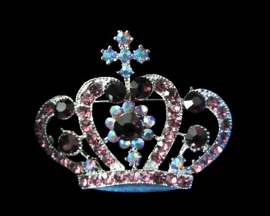 Purple rhinestones silver tone crown brooch
