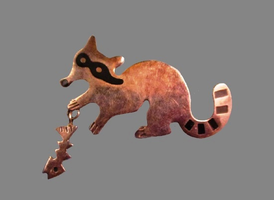 Raccoon with fish charm. Sterling silver