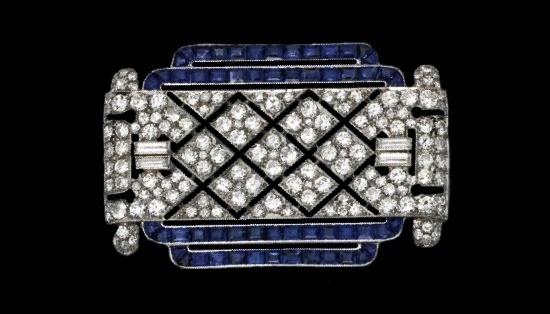 Rectangular brooch. Diamond, sapphire. Circa 1925