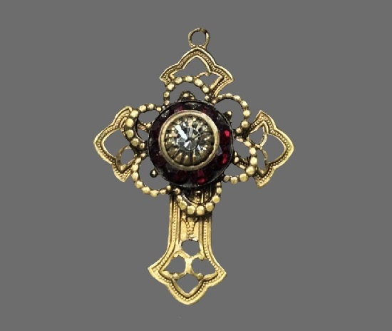 Red crystal silver brass Cross pendant