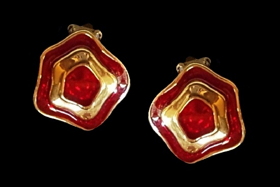 Red enamel gold plated clip on earrings