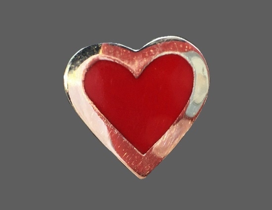 Red heart pin. Sterling silver, enamel
