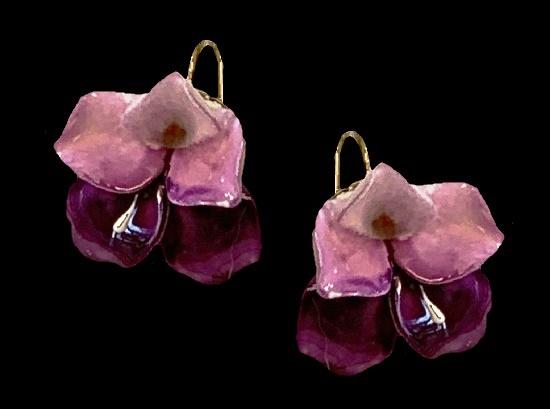 Retro Purple Glass Porcelain Flower Screw Back Earrings