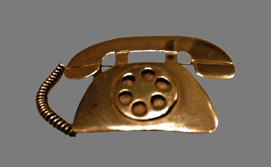 Retro telephone sterling silver brooch