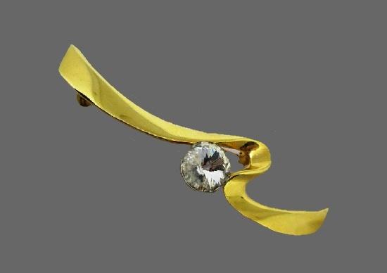 Ribbon brooch. Gold tone metal alloy, rhinestone. 1980s