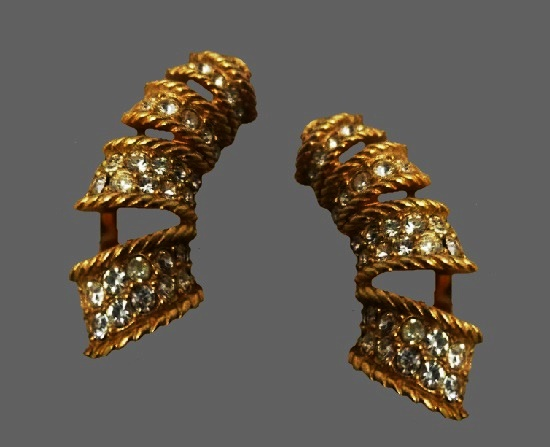 Ribbon spiral design long earrings of gold tone, pave rhinestones