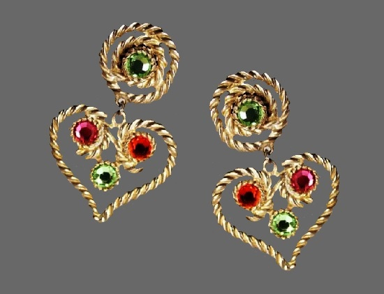 Rope design heart shaped dangling clip-on-earrings. Silvery metal, faceted peridot, green, pink and orange crystal rhinestones. 1990s