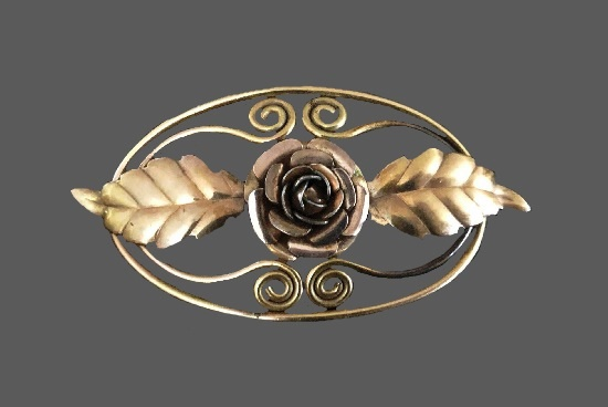 Rose and two leaves 12 K gold filled brooch