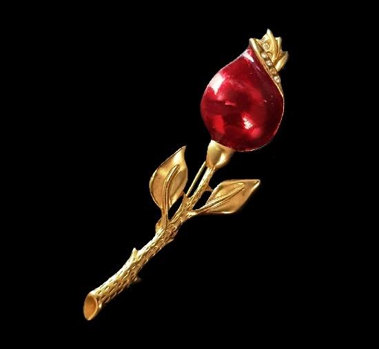 Rose bud brooch. 18K matte gold plated, crystals, enamel