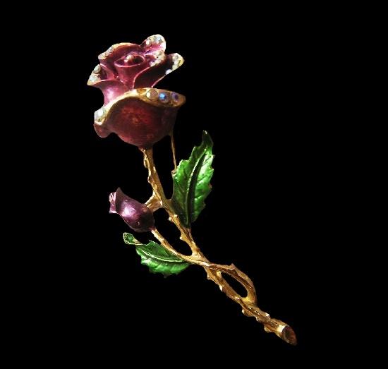 Rose flower brooch. Gold tone alloy, enamel, rhinestones