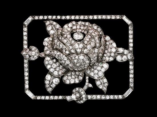 Rosebud brooch. Platinum, diamond Brooch. Circa 1925
