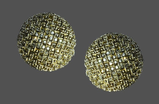 Round shaped clip on earrings. Silver, rhinestones. 3.5 cm