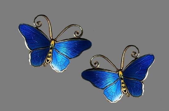 Royal blue enamel butterfly earrings. Gold plated sterling silver. 1940s