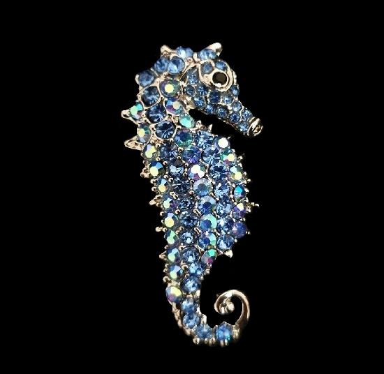 Seahorse brooch. Blue rhinestones, silver tone metal. 5.5 cm