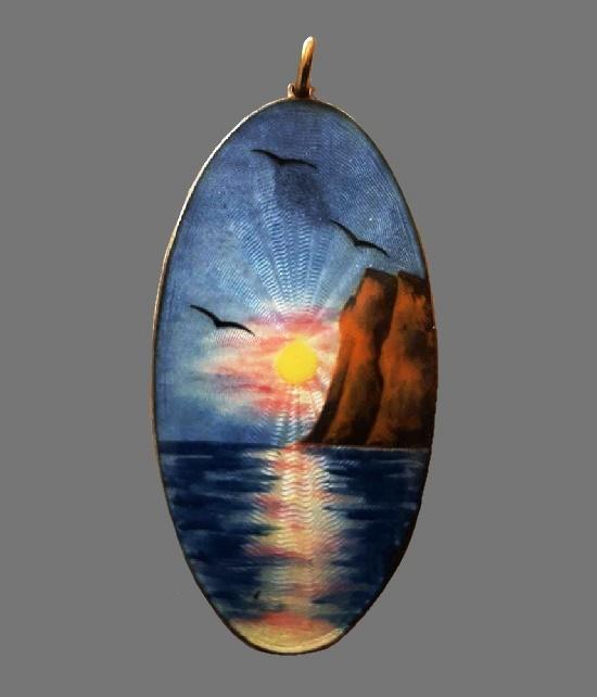 Seascape oval shaped brooch. 925 sterling silver, enamel. 6 cm. 1940s