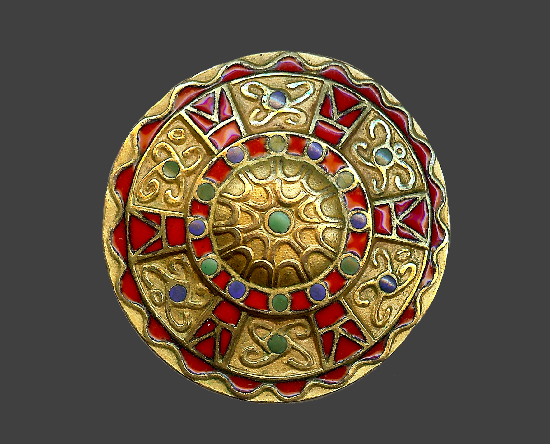 Shield brooch. Gold plated metal, red, blue and green enamel