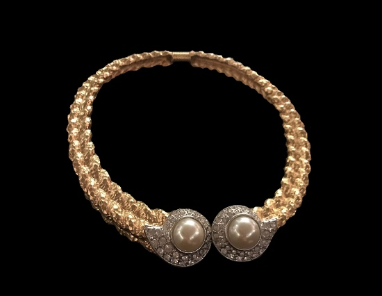 Silver and gold tone faux pearl necklace