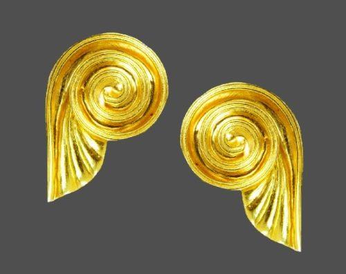 Spiral swirl 18 K gold earrings