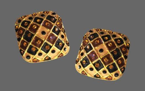 Square shaped clip on earrings. Gold tone metal, enamel, rhinestones. 1980s