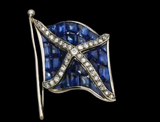 St. Andrew's Cross brooch. Sapphires, diamonds, enamel. Early 20th century