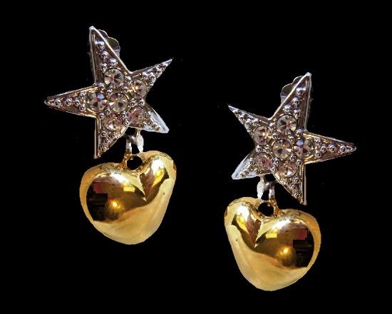 Star dangle heart clip on earrings of gold tone