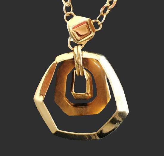 Statement gold tone pendant