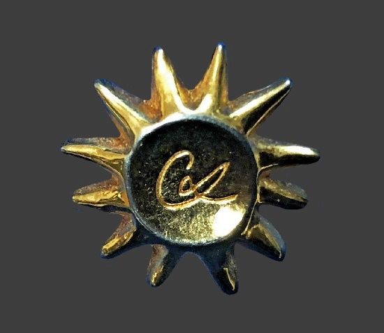 Sun gold plated lapel pin