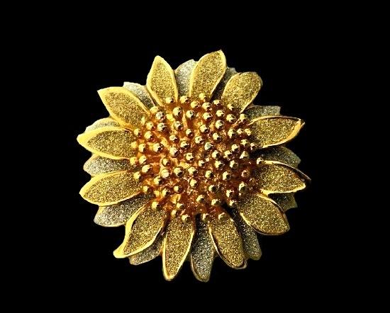 Sunflower brooch pendant. Gold plated metal alloy, glitter enamel