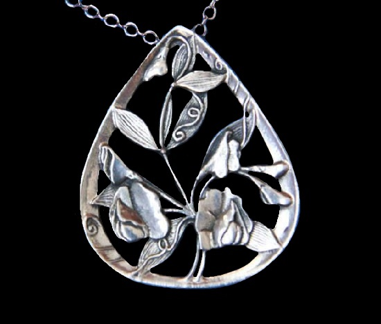 Sweetr pear floral design silver tone pendant. 1970s