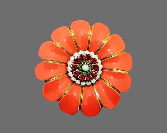 Tangerine Tango color flower brooch. 14 K gold plated, enamel, crystals