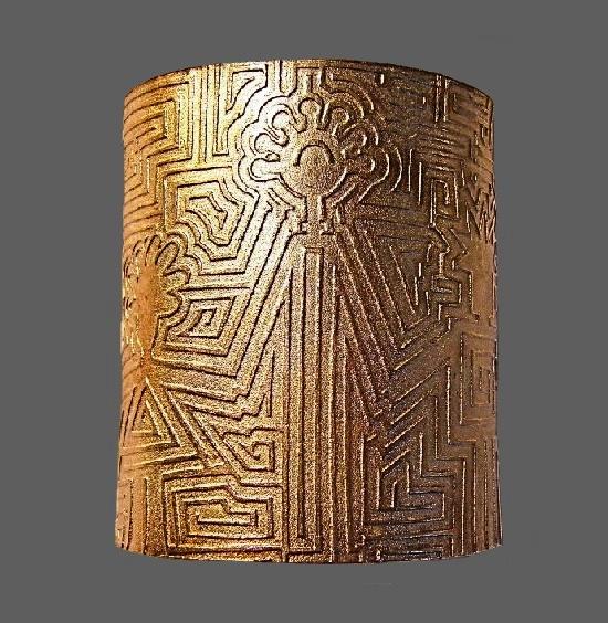 Textured gold tone wide bracelet