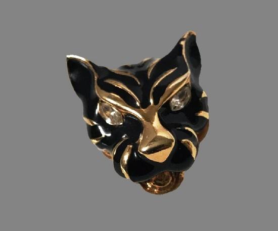 Tiger head brooch. Gold plated metal, enamel