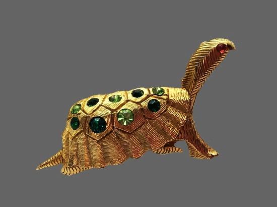 Tortoise brooch. Gold tone textured metal alloy, Swarovski crystals. 6.2 cm. 1960s