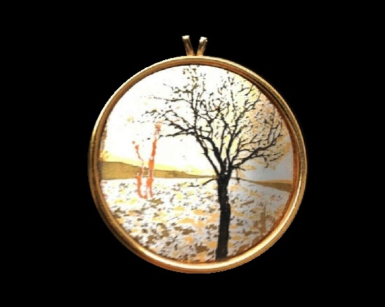 Tree landscape Damascene collection pendant. Gold plated silver