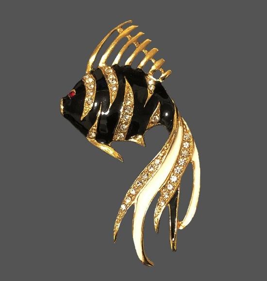 Tropical fish brooch. Gold tone, enamel, rhinestones