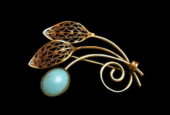 Turquoise blue cabochon 14 K gold filled brooch pin