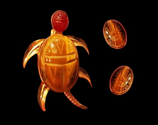 Turtle Brooch and earrings. 12 K gold filled, Tiger Eye Scarab