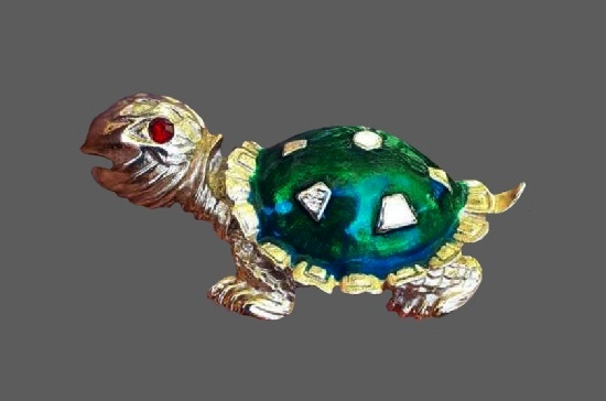 Turtle brooch. Gold tone, enamel, crystal