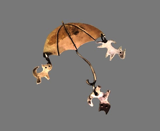 Umbrella with cats and dogs charms. Sterling silver