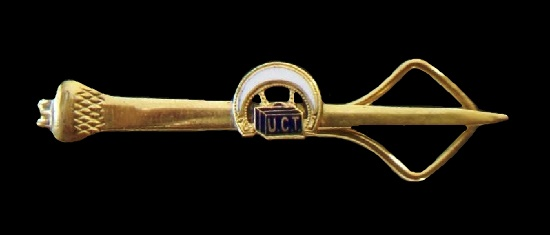 United Commercial Travelers UCT tie bar. Gold tone metal, enamel