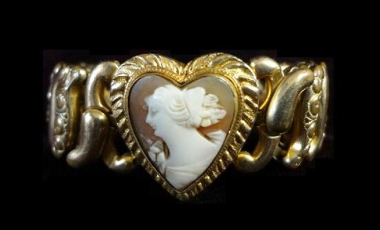 Victorian design cameo gold filled bracelet