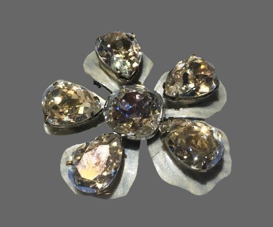 Vintage silver enamel large crystal rhinestone brooch